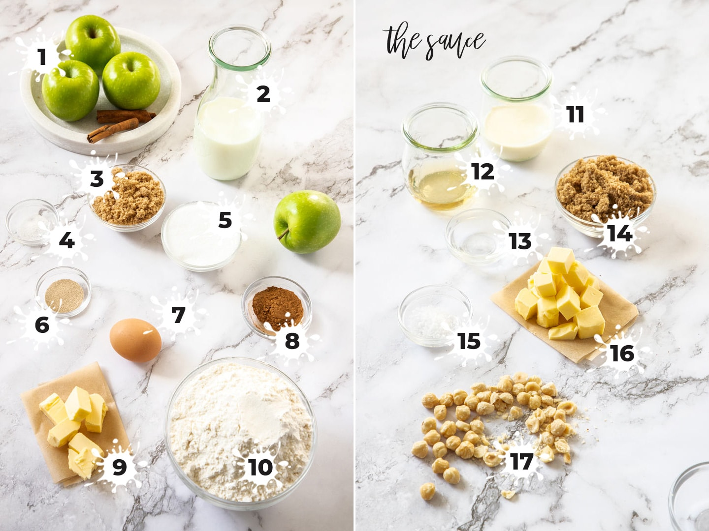 Ingredients laid out for apple cinnamon rolls