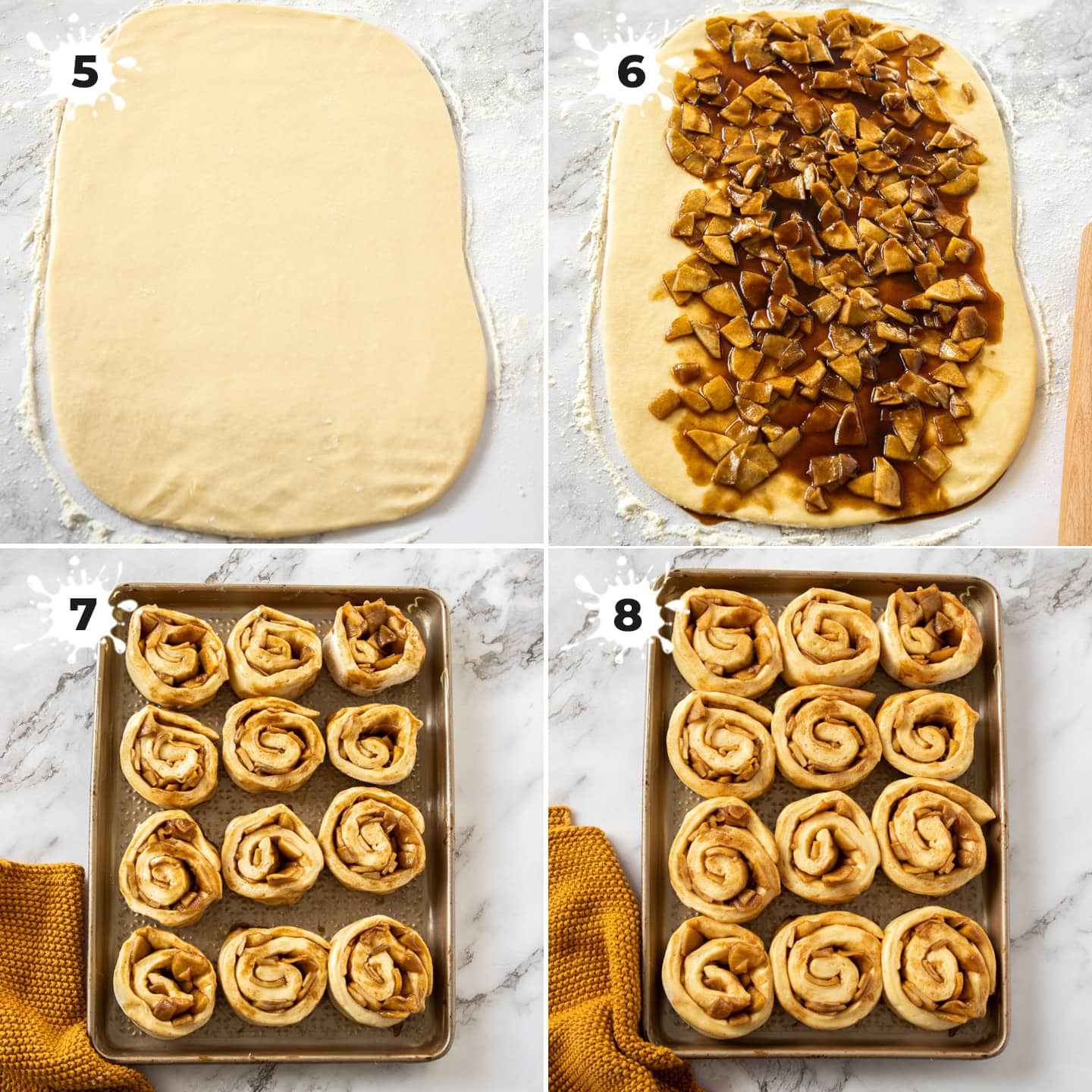 4 images showing dough being filled and rolled up for cinnamon rolls