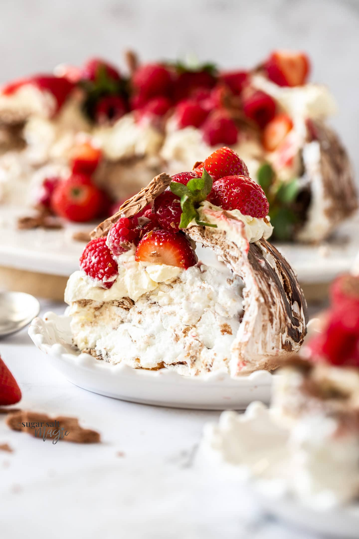 A slice of pavlova swirled with chocolate on a white plate