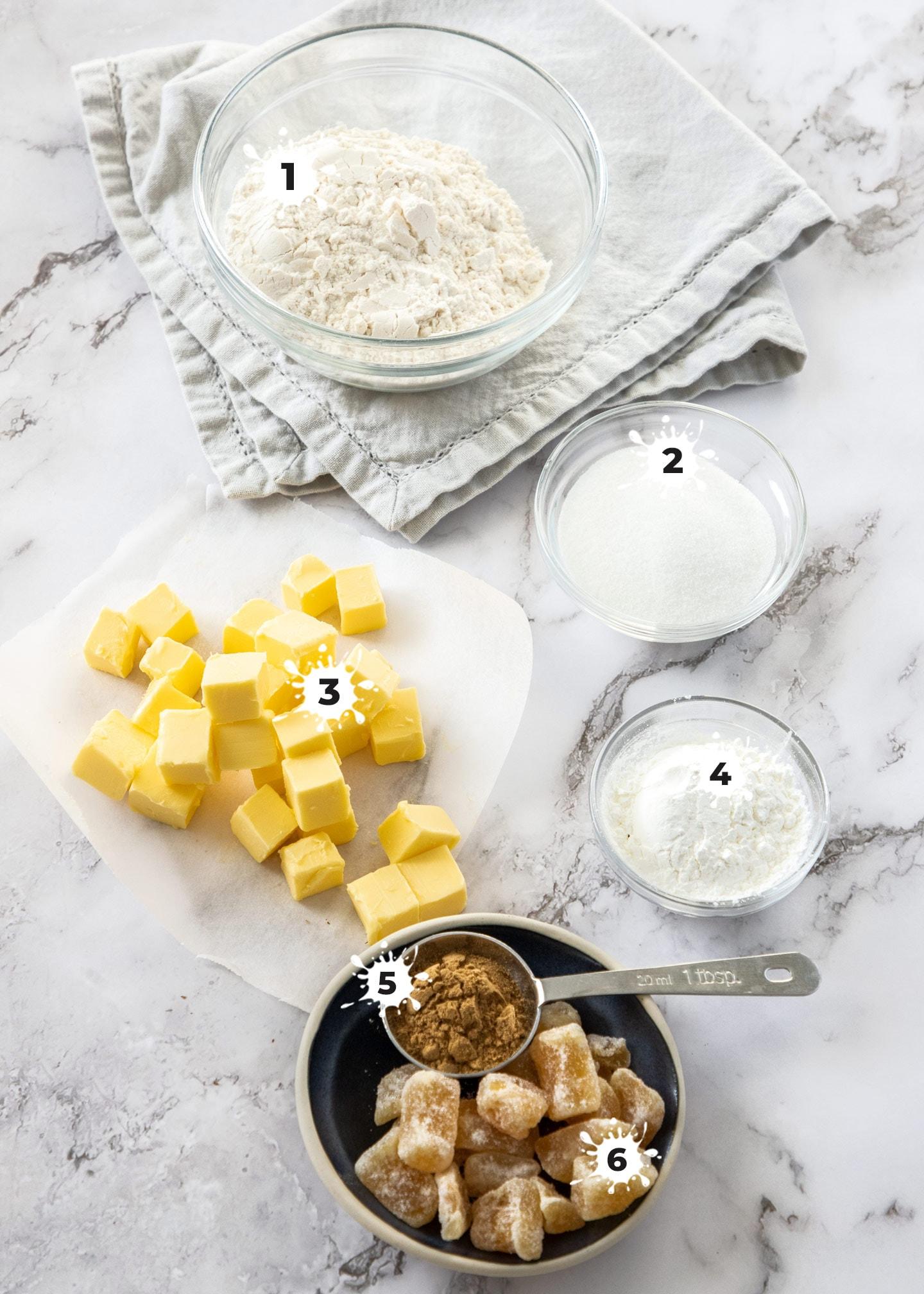 Ingredients for ginger shortbread