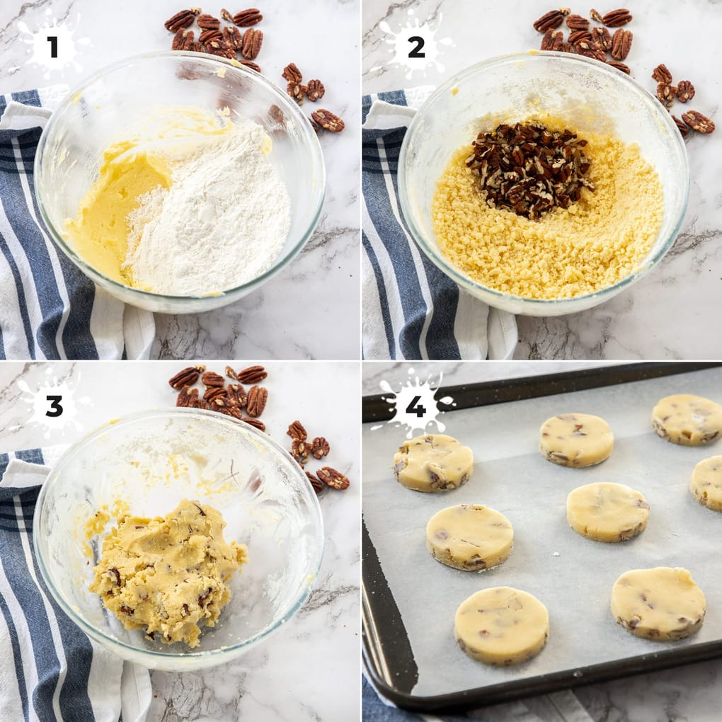 A collage of 4 images showing the stages of making pecan sandie dough