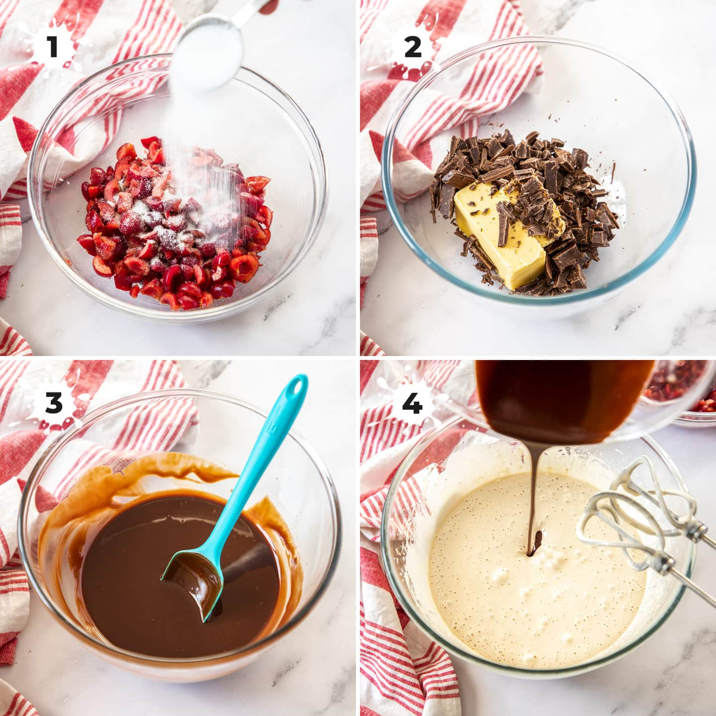 Combining ingredients for black forest brownies in a glass bowl