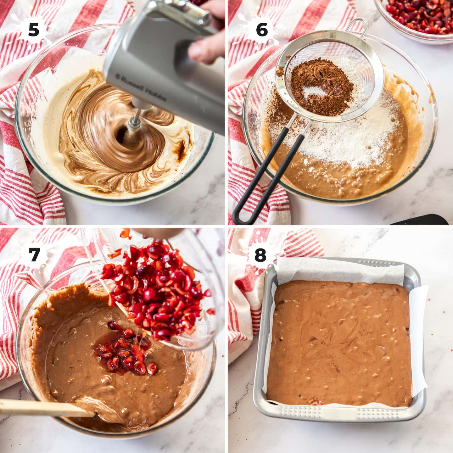 Mixing up batter for cherry brownies