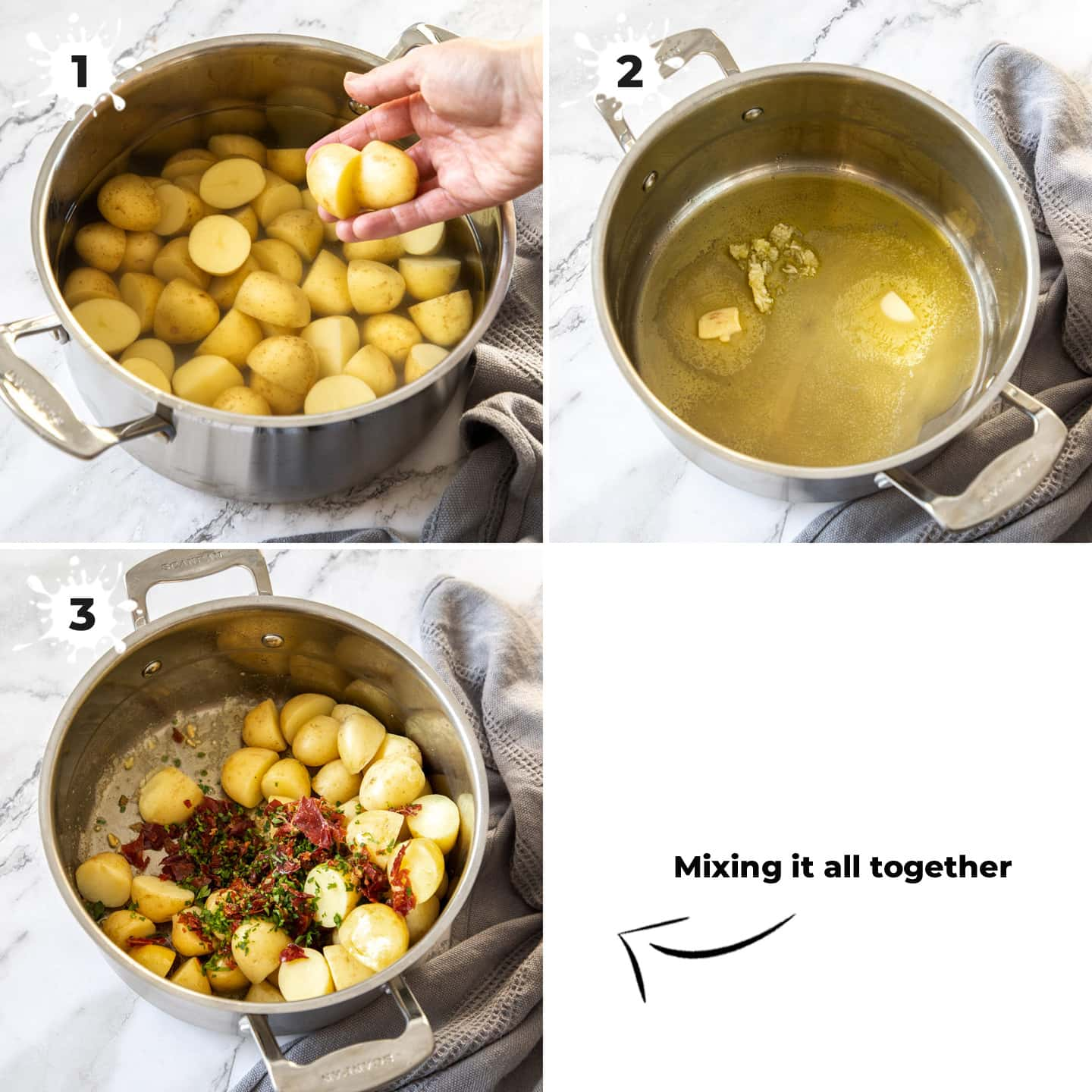 Potatoes in a saucepan being mixed with parsley and prosciutto