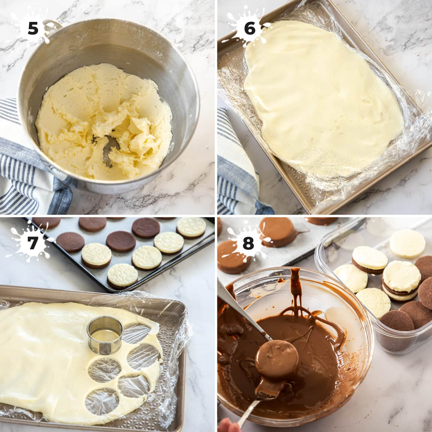 4 images showing the peppermint cream filling being made