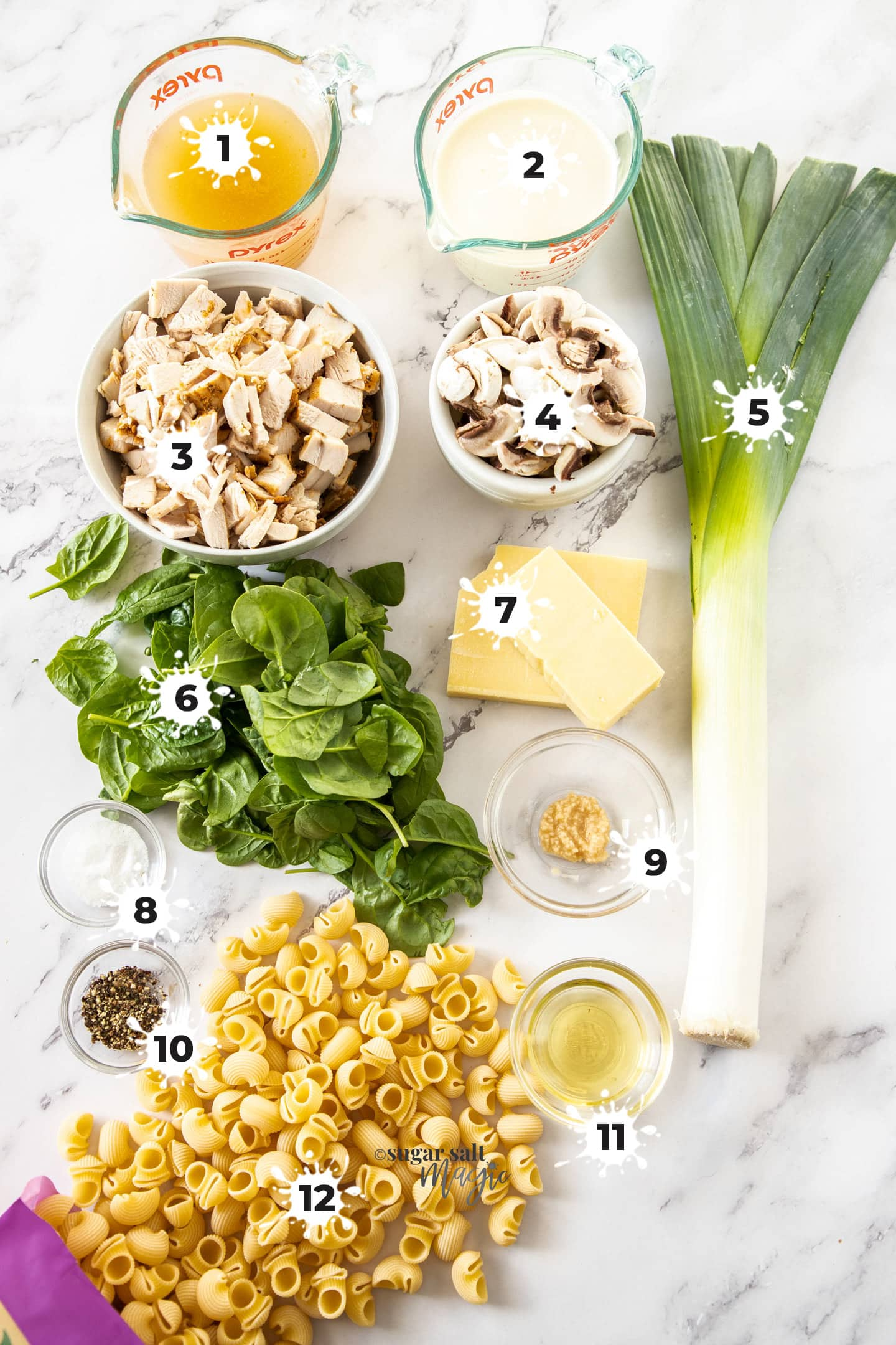 Ingredients for turkey pasta bake on a white bench top