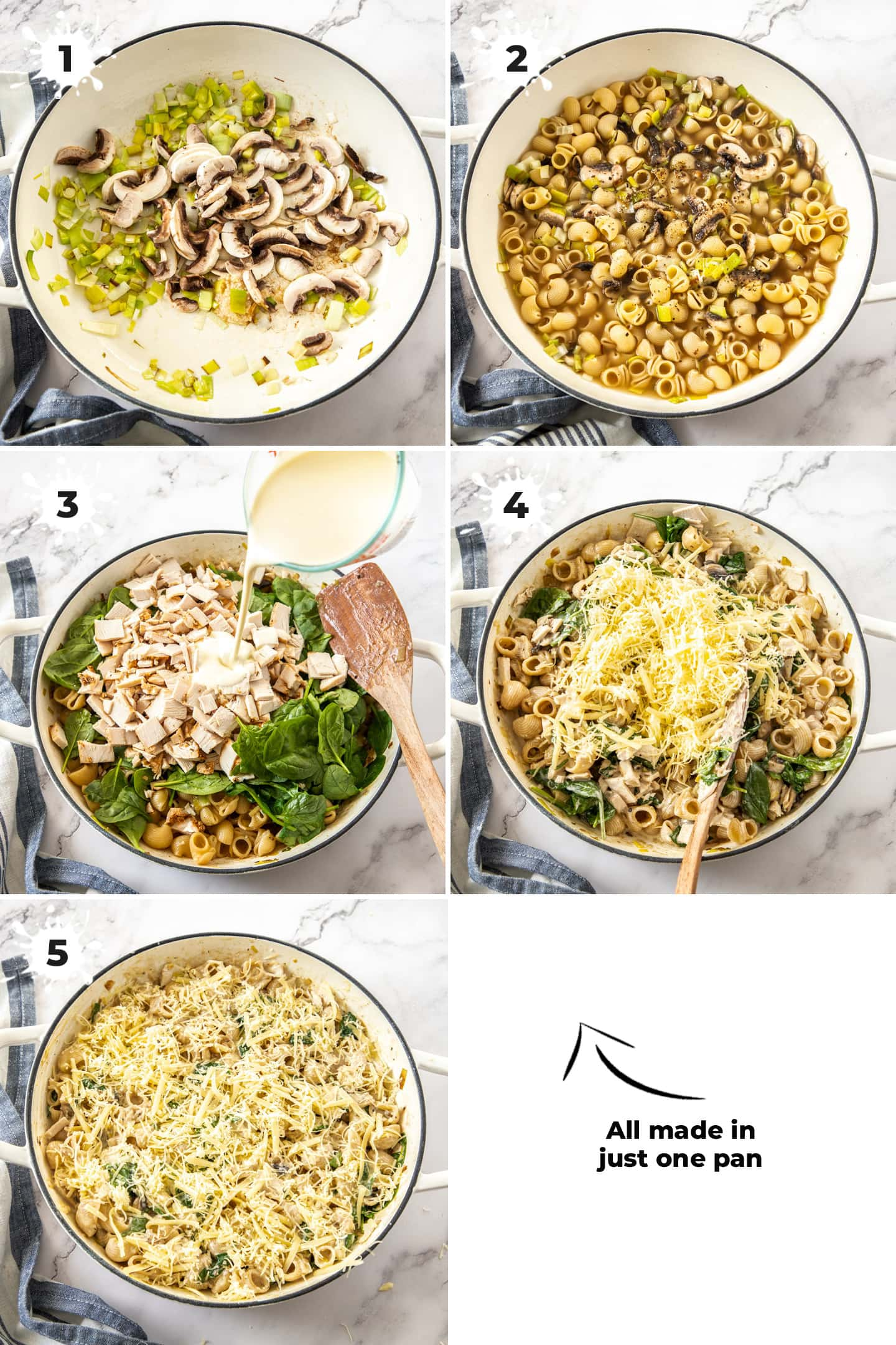 5 images showing a white casserole dish and ingredients being added