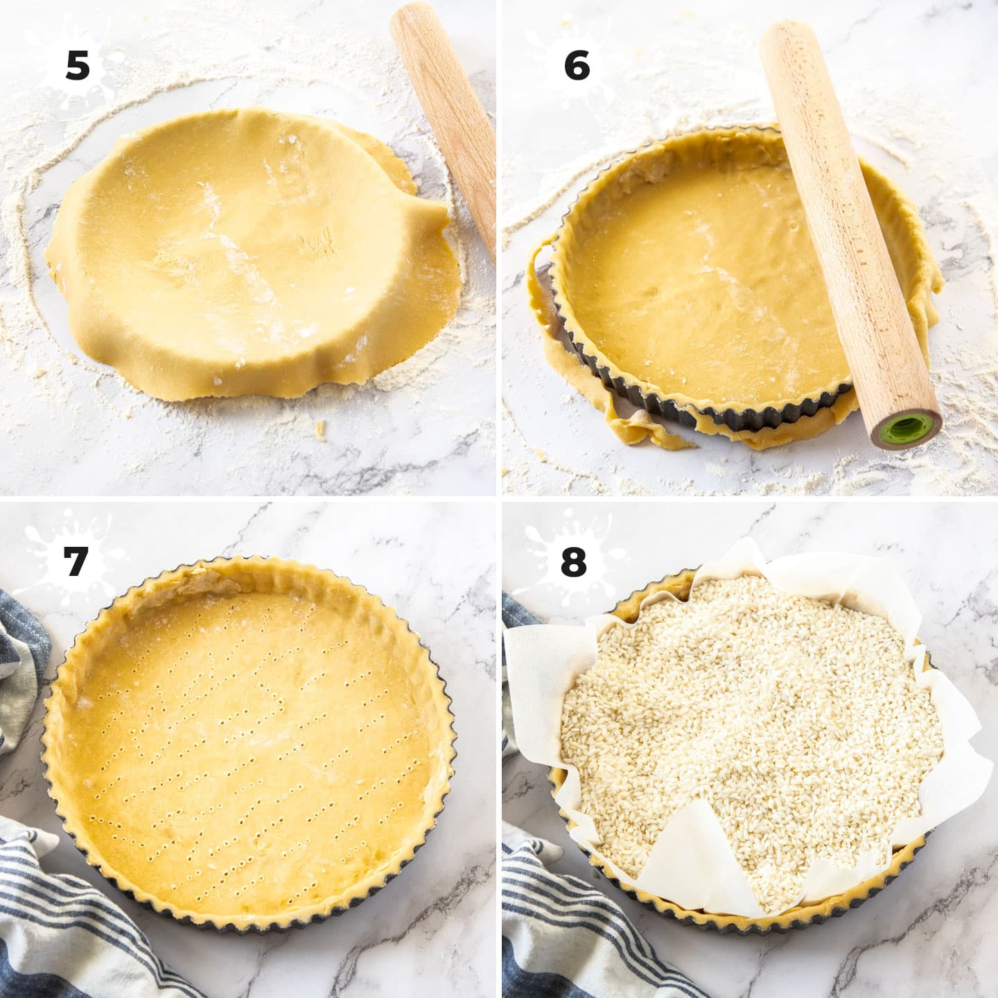 Line a tart tin with pastry