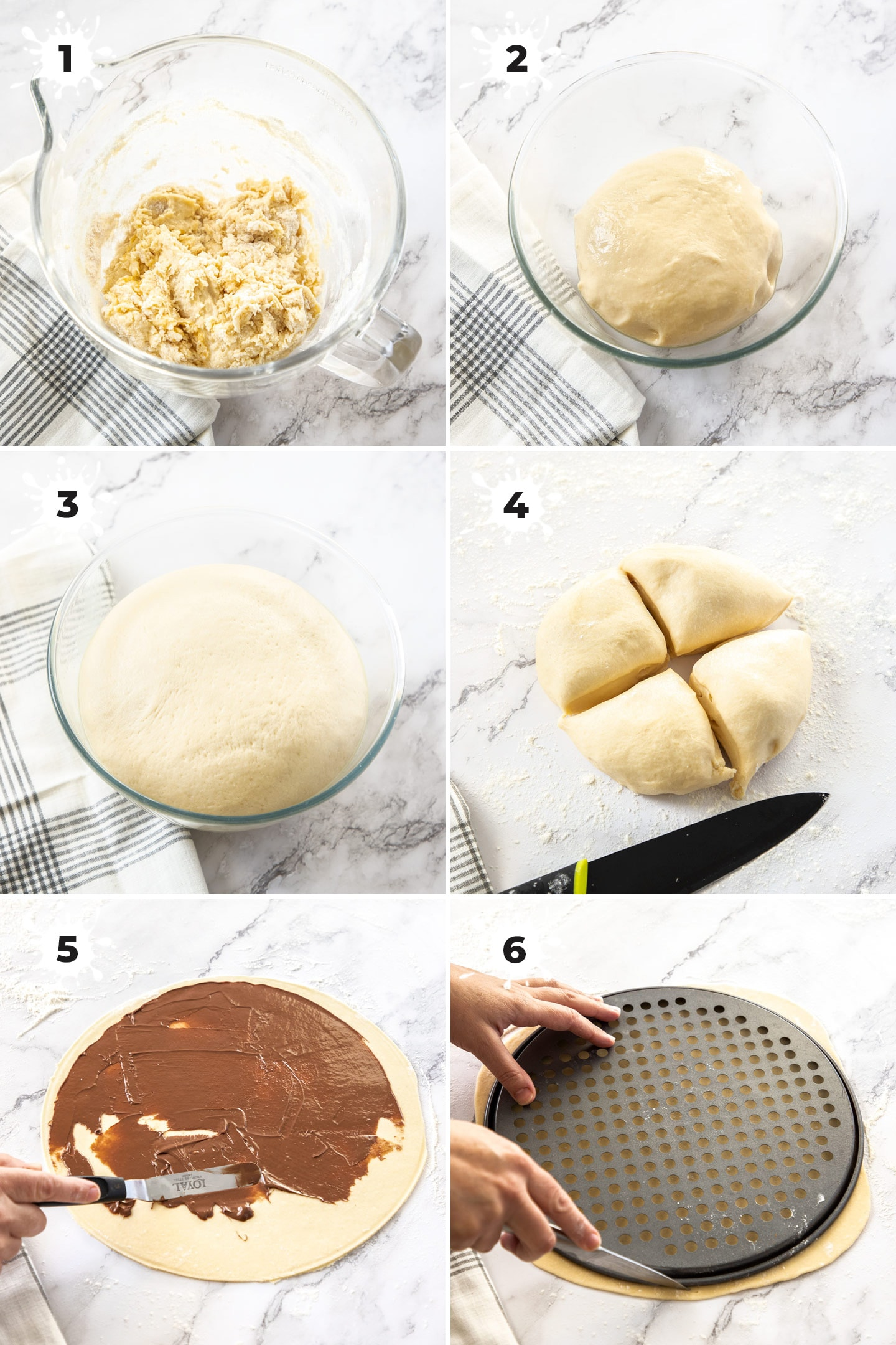 6 images showing dough being made in a glass bowl, the rolled out