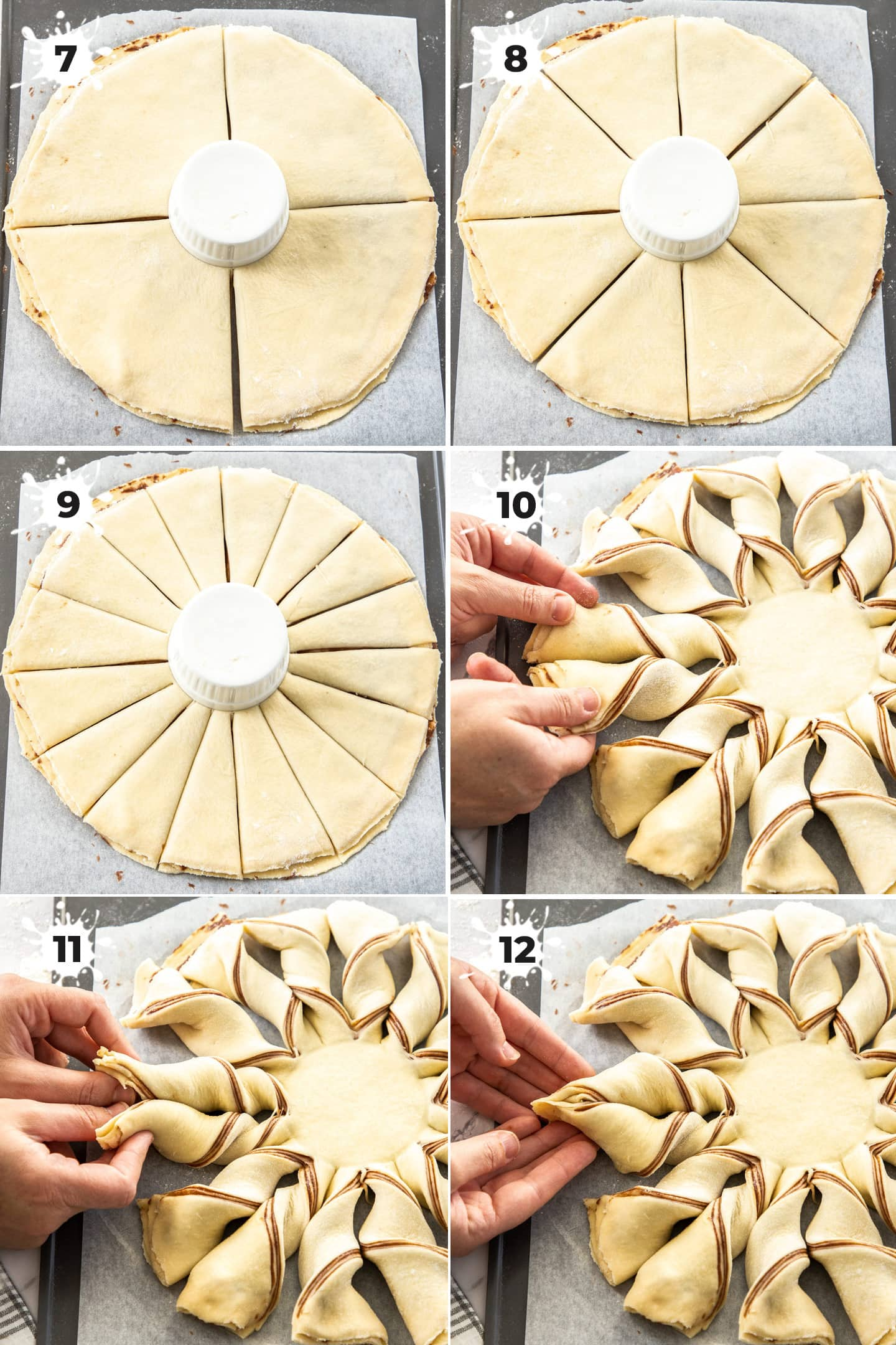 6 images showing how to shape star bread