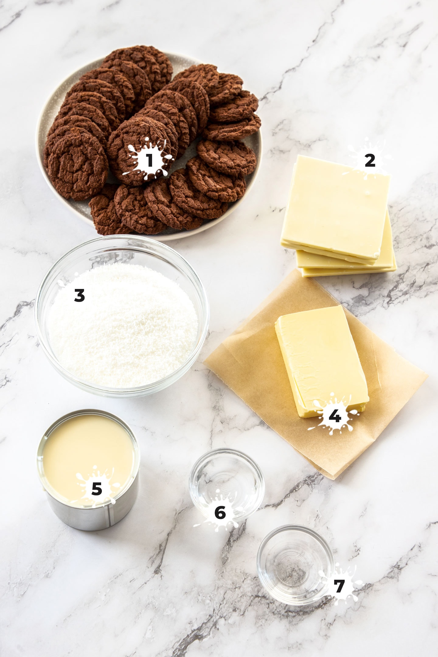 Ingredients for peppermint coconut fudge on a marble surface