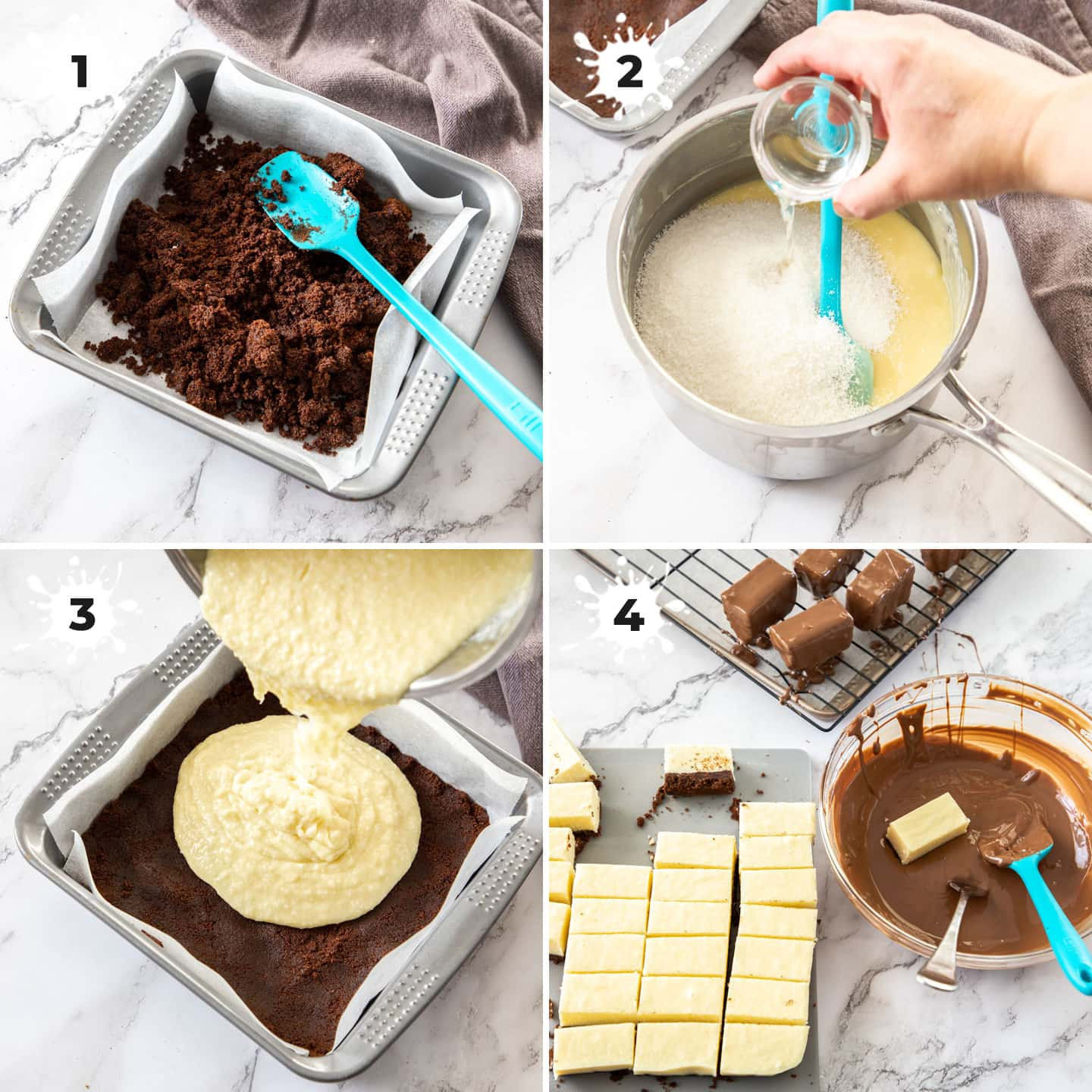4 images showing stages of making fudge