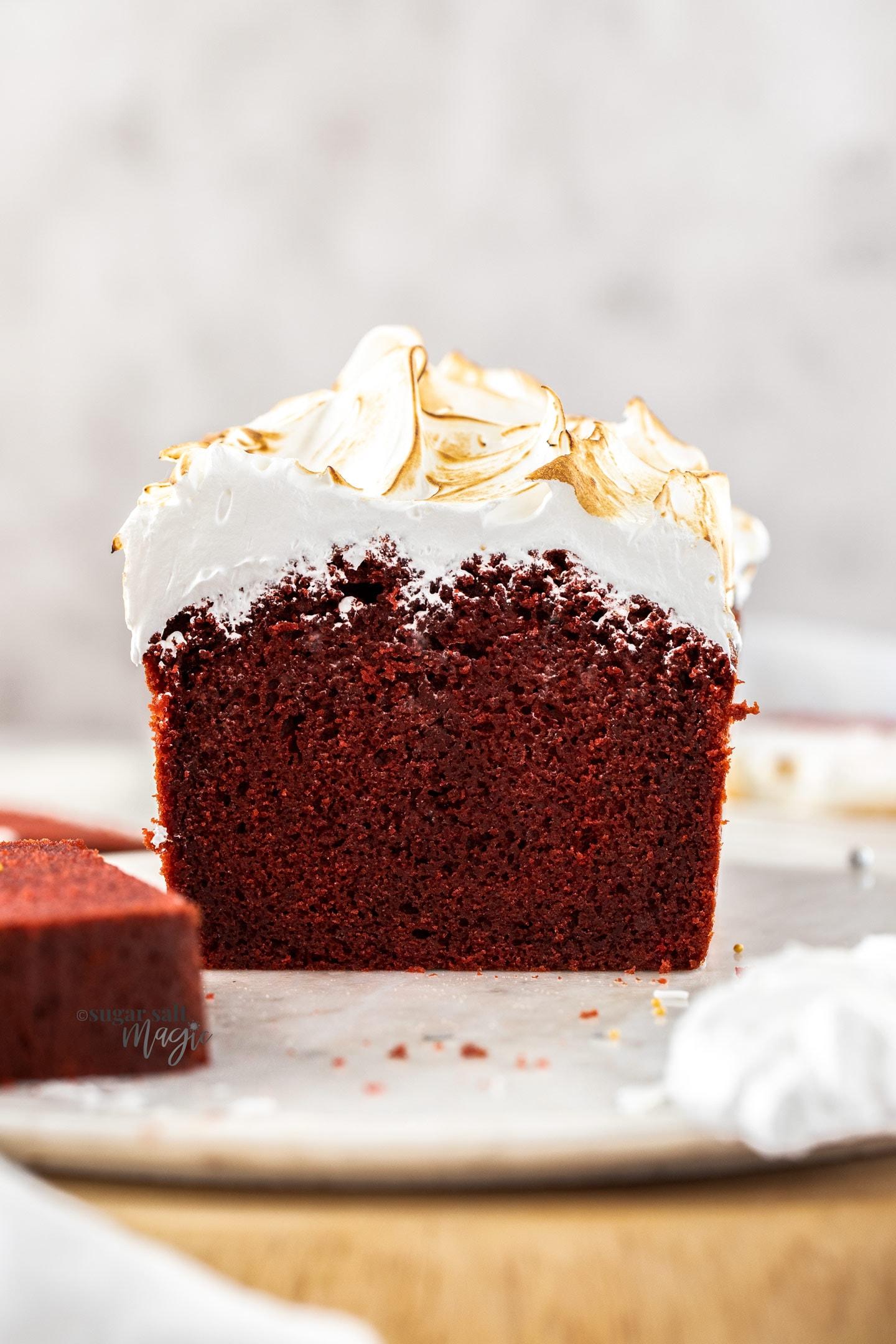 Close up of the inside of a red velvet loaf cake