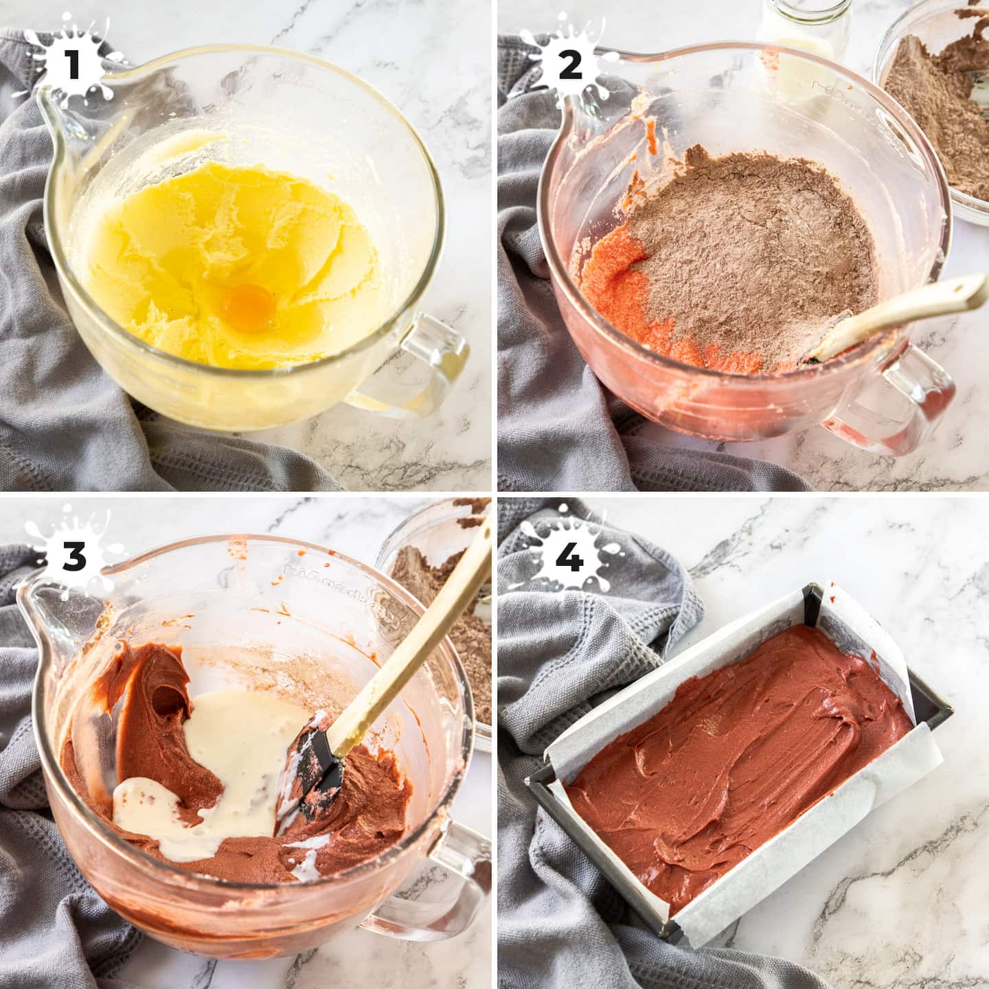 4 images showing batter for the red velvet pound cake being prepared