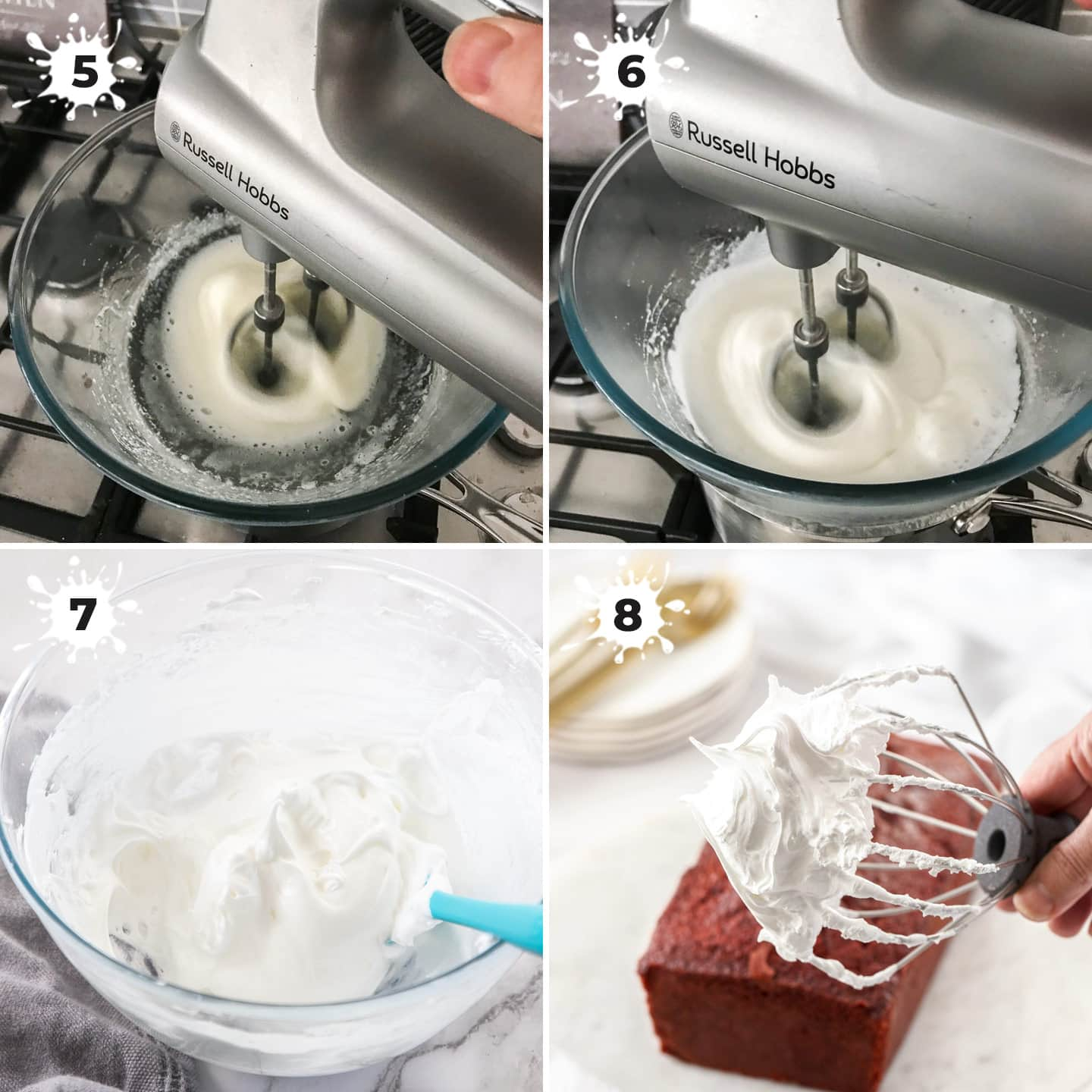 4 images showing how to beating up marshmallow frosting