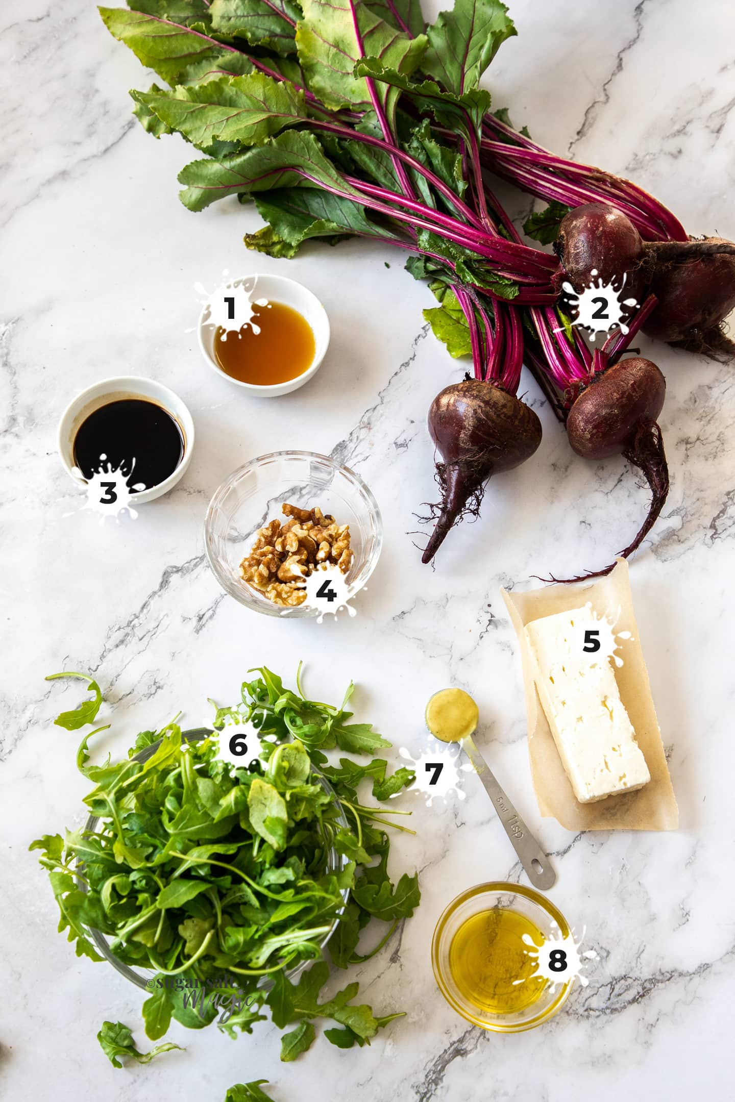 Ingredients for roasted beetroot feta salad