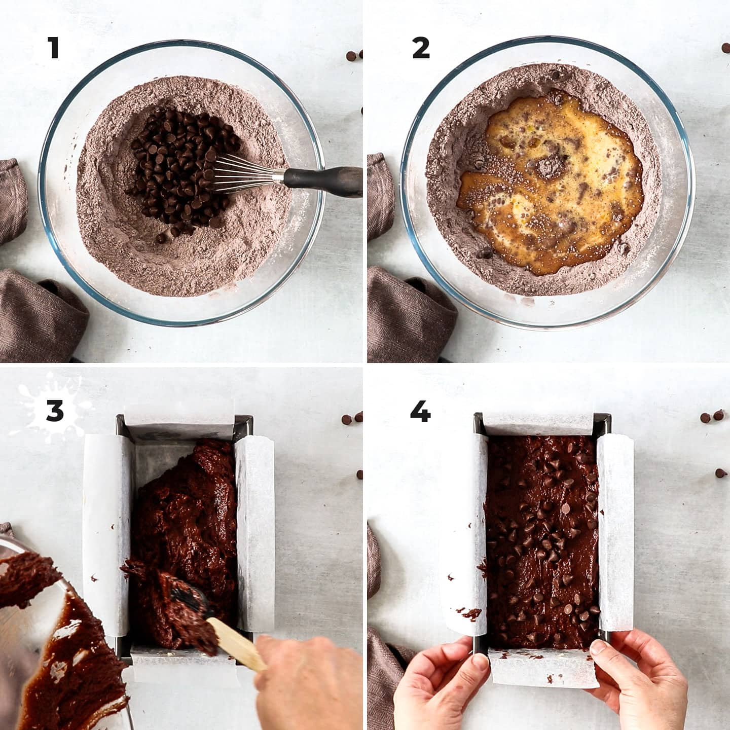 Collage of 4 images showing making chocolate bread batter