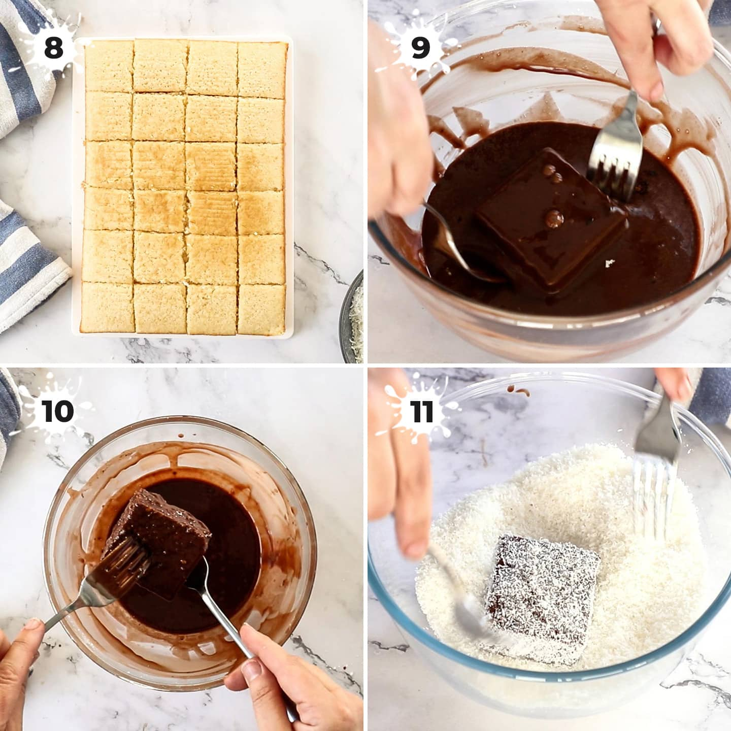 4 images showing how to coat sponge cake for lamingtons in chocolate glaze and coconut.