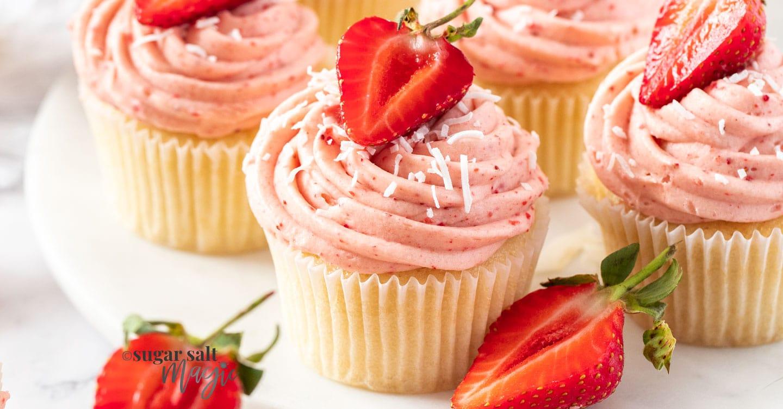 Coconut Strawberry Cheesecake Cupcakes