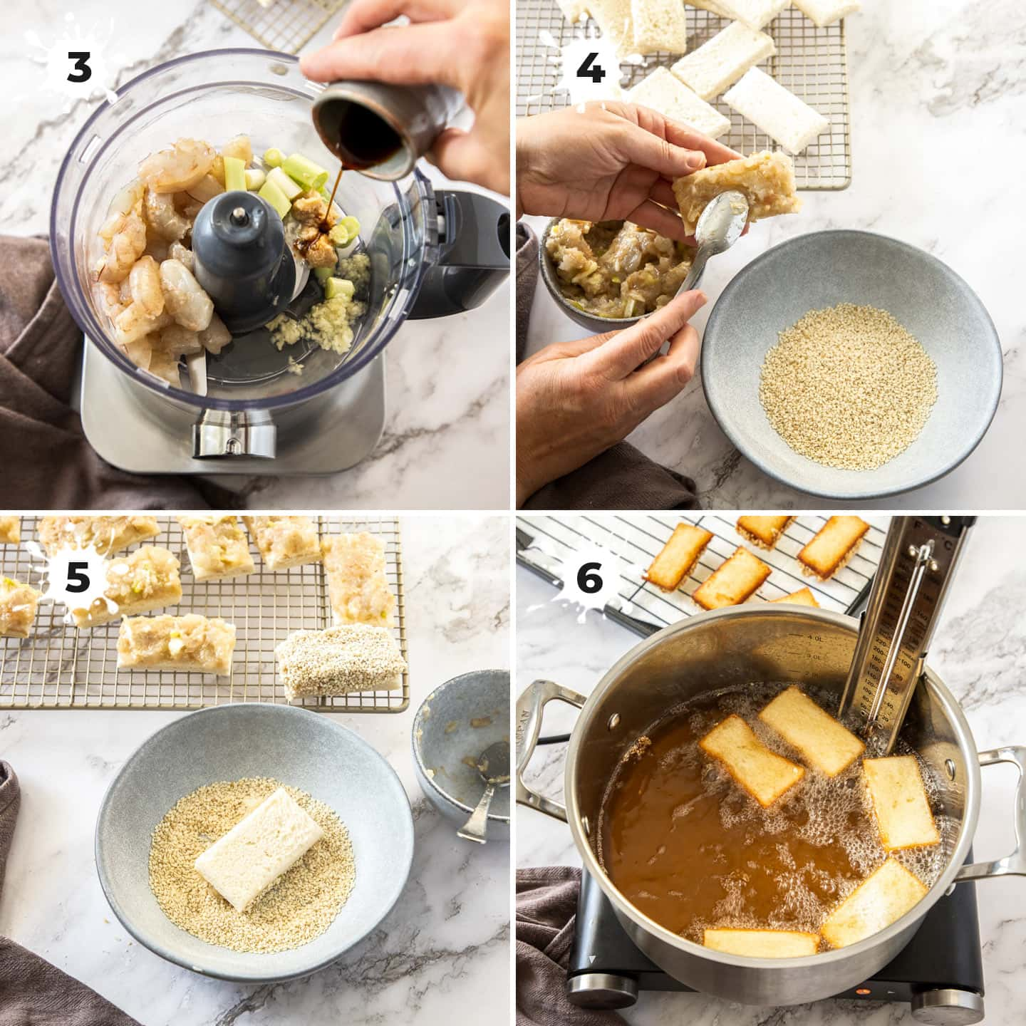 A collage of 4 images showing preparing and cooking prawn toast