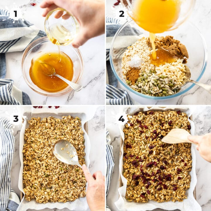 Mixing granola ingredients in a bowl then transferring to a baking tray