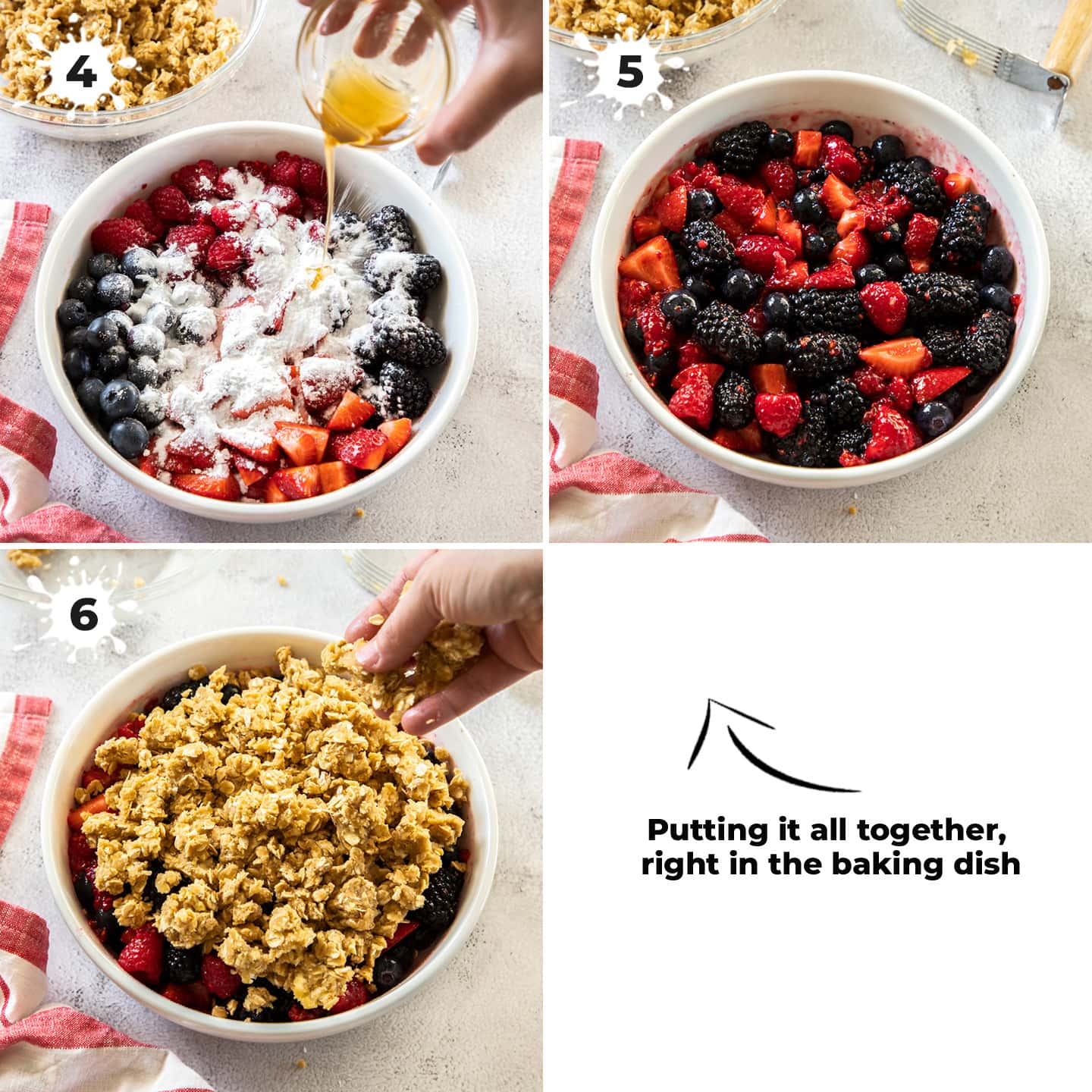 3 images showing assembling the mixed berry crumble in a white pie dish