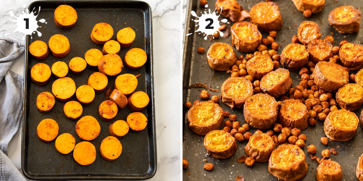 A baking tray with sweet potatoes and chickpeas on it