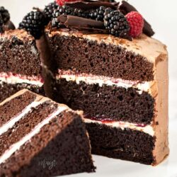 Closeup of the inside of a 3 layer chocolate cake