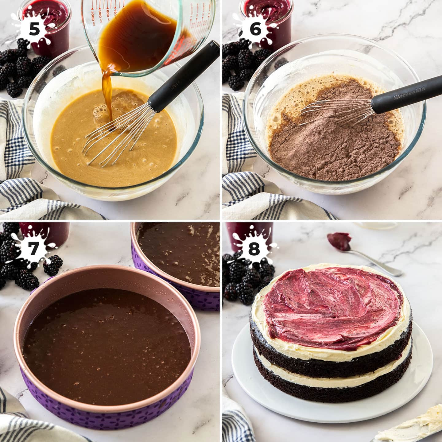 4 images showing how to make a chocolate cake