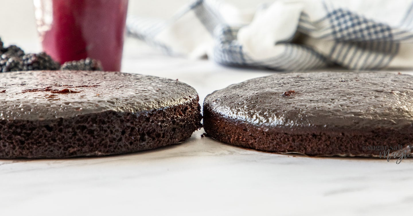 Two cakes side by side showing their different heights