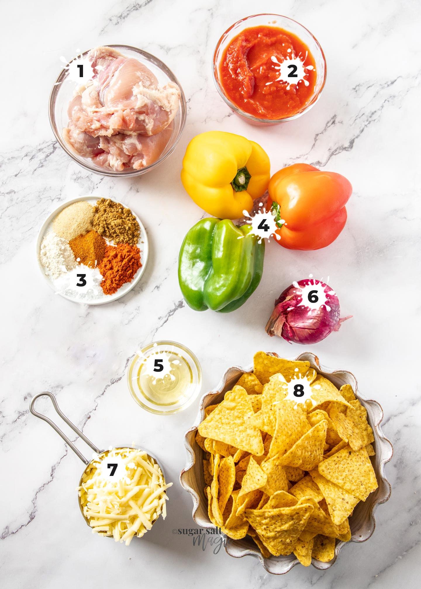Ingredients for chicken fajita nachos