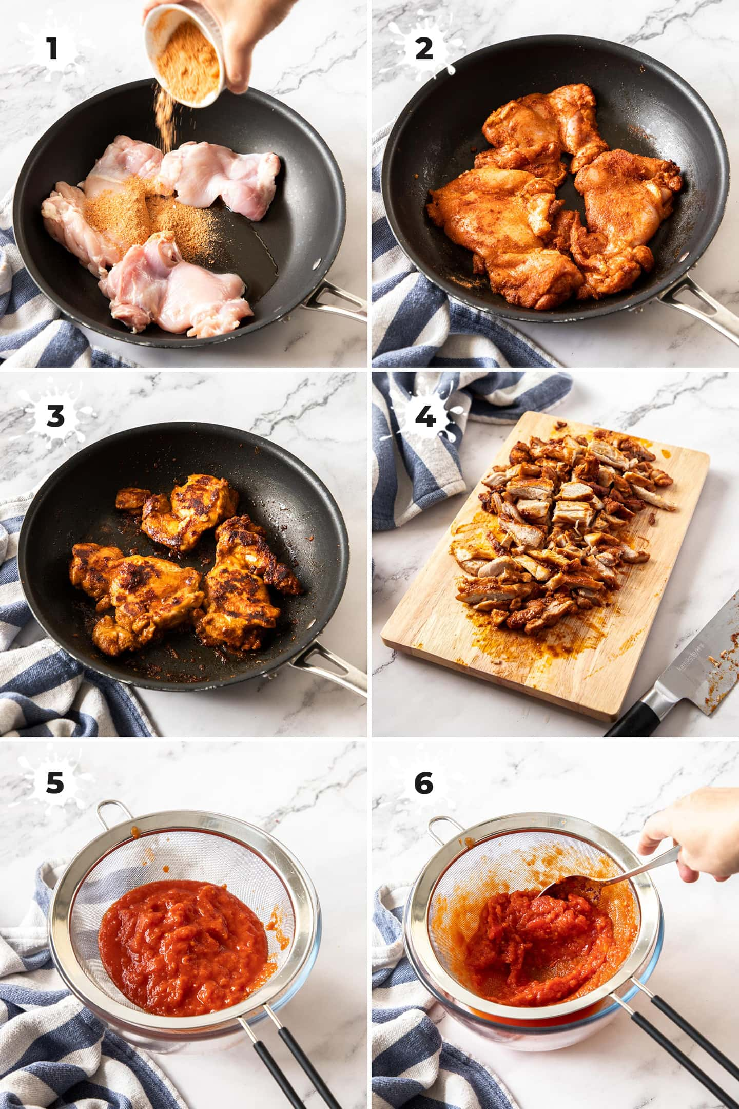 6 images showing cooking fajita chicken and straining tomatoes
