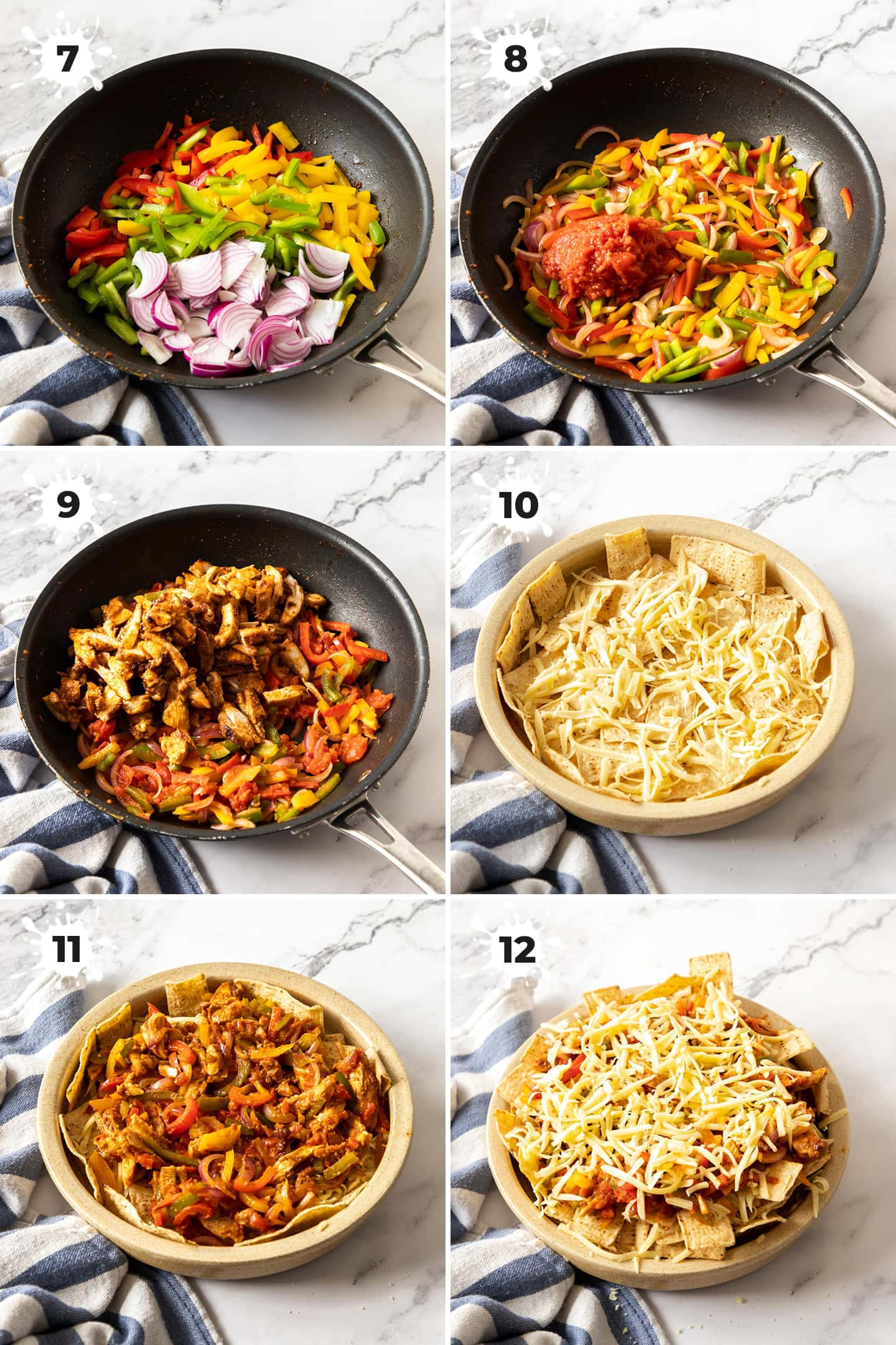 6 images showing cooking veggies in a pan and layering up nachos in a dish