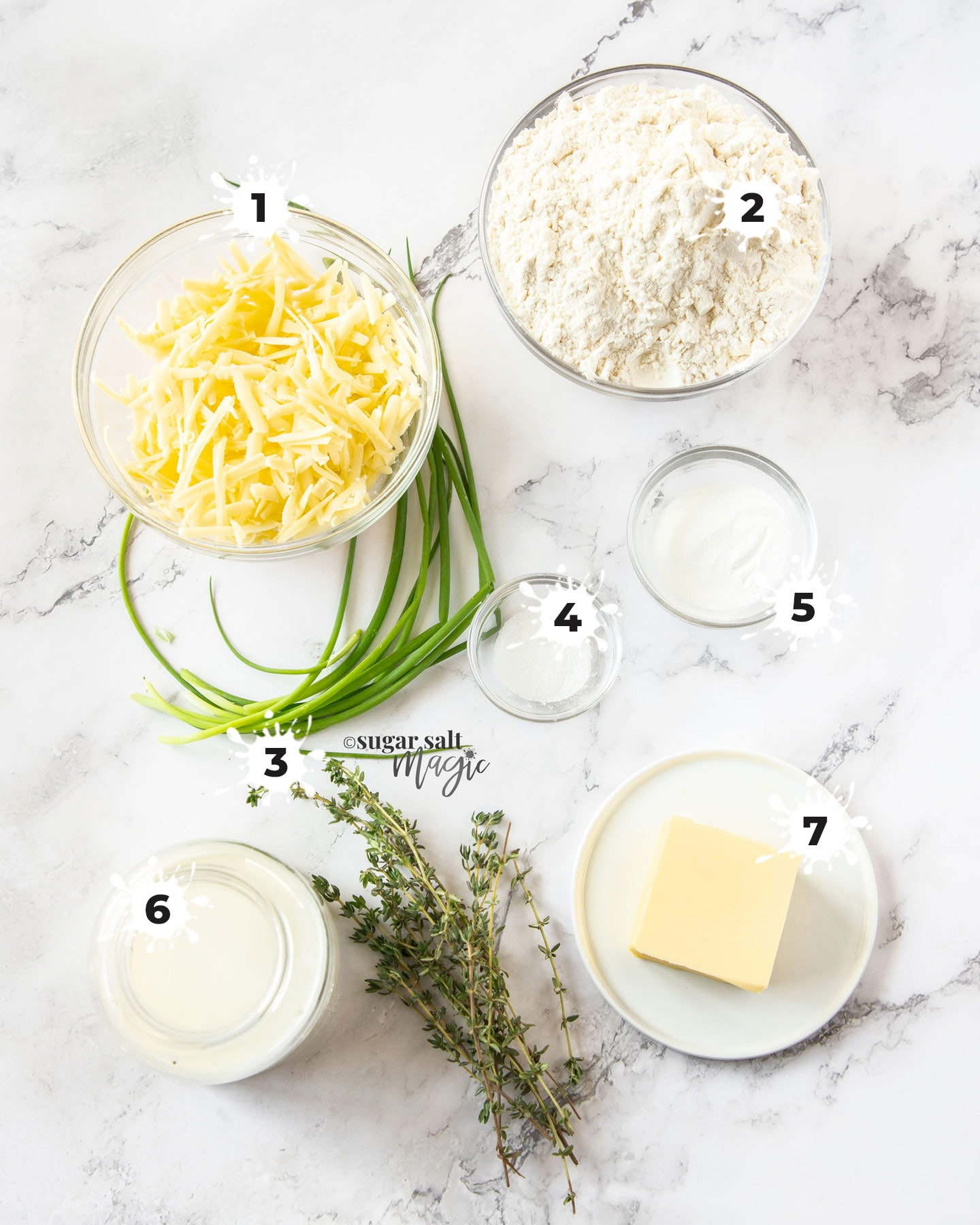 Ingredients for herb and cheddar scones