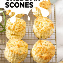6 cheese scones on a wire cooling rack