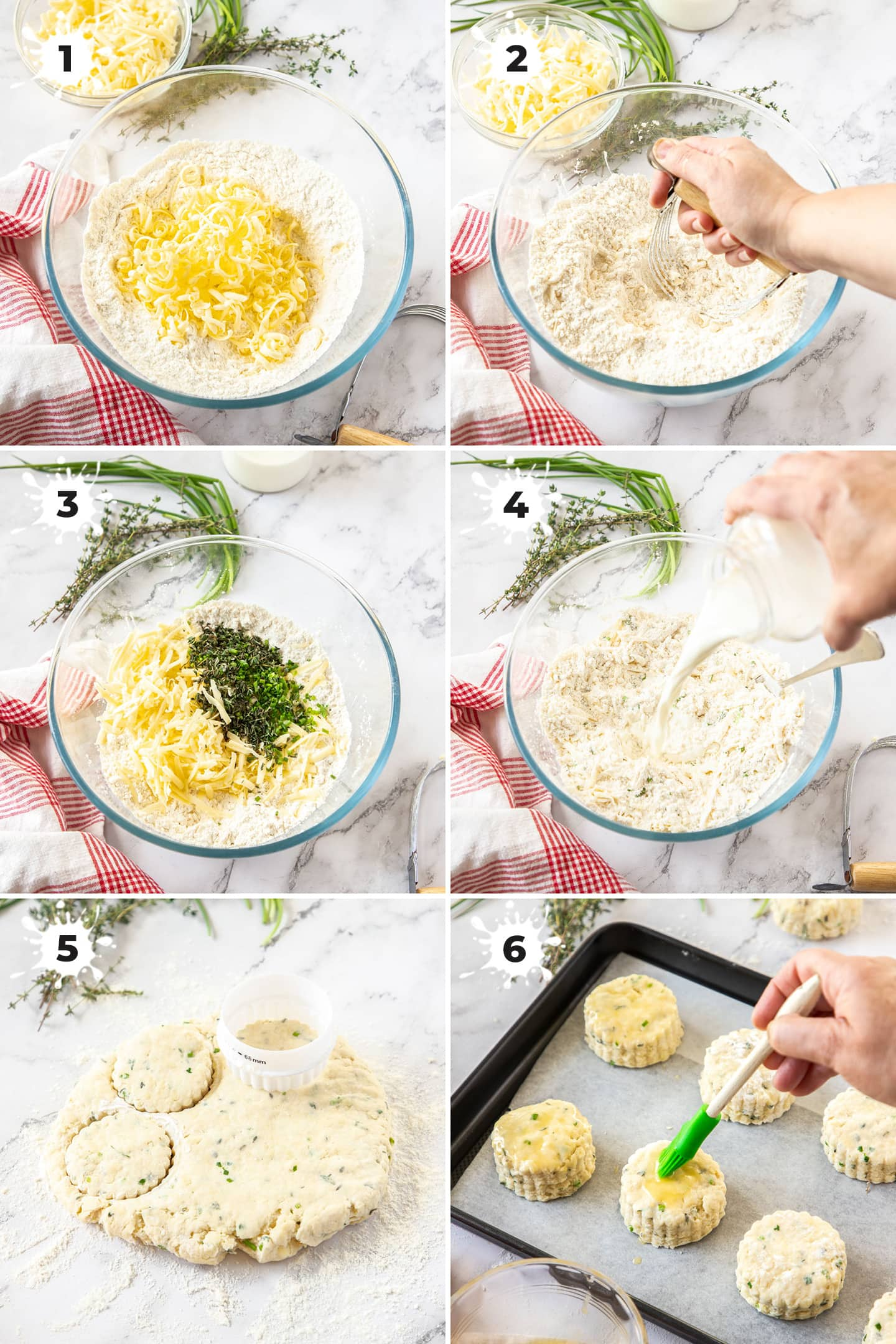6 images showing how to make herb and cheese scones