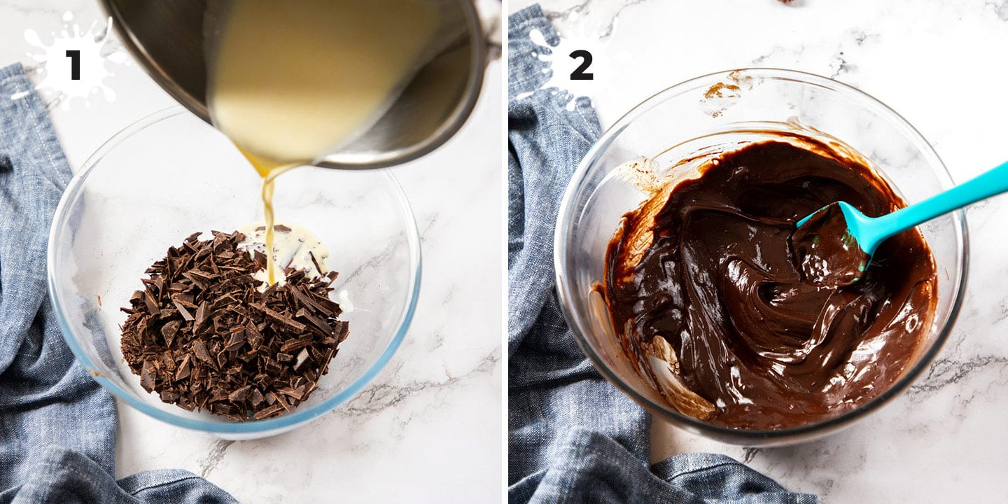 2 images showing how to make chocolate ganache in a glass bowl