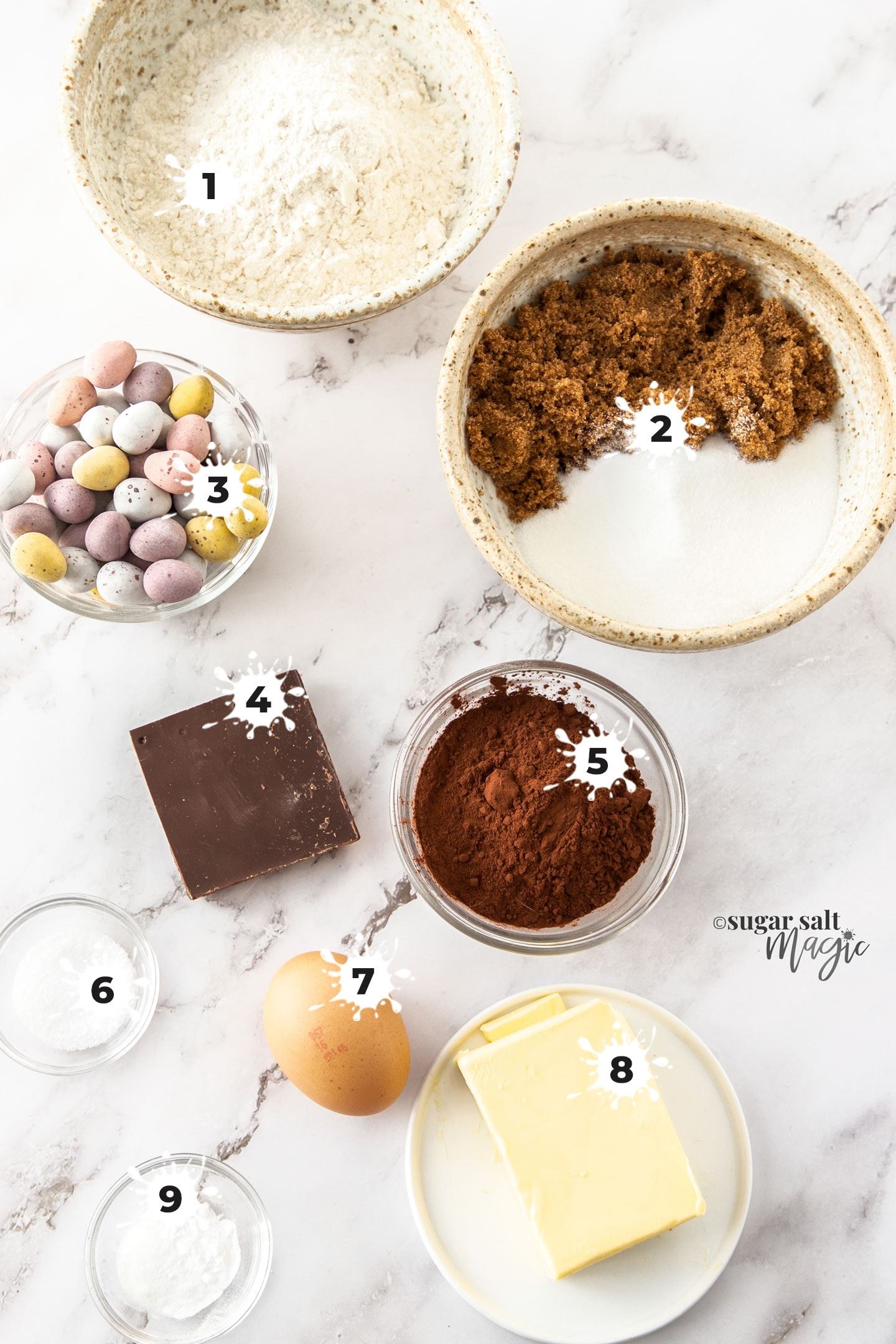 Ingredients for chocolate easter egg cookies.