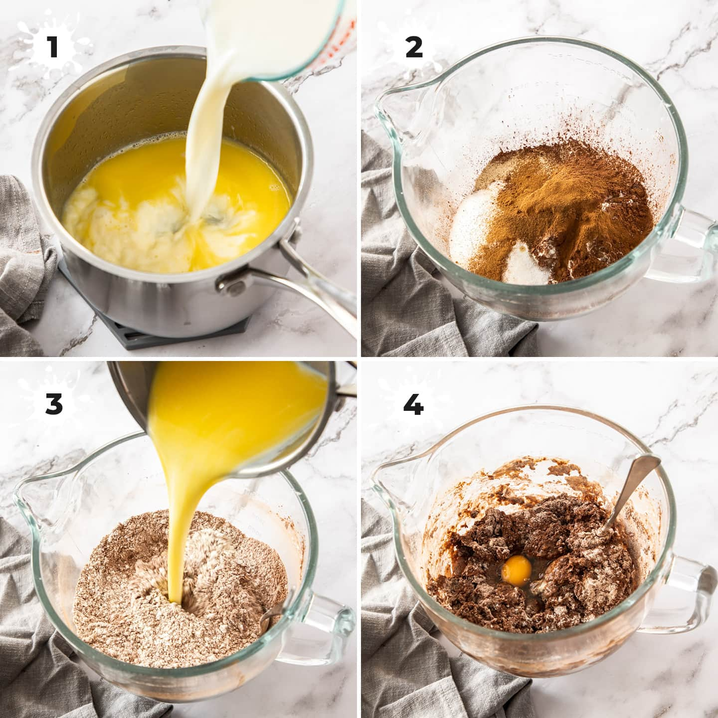 4 images showing how to prepare chocolate hot cross bun dough.