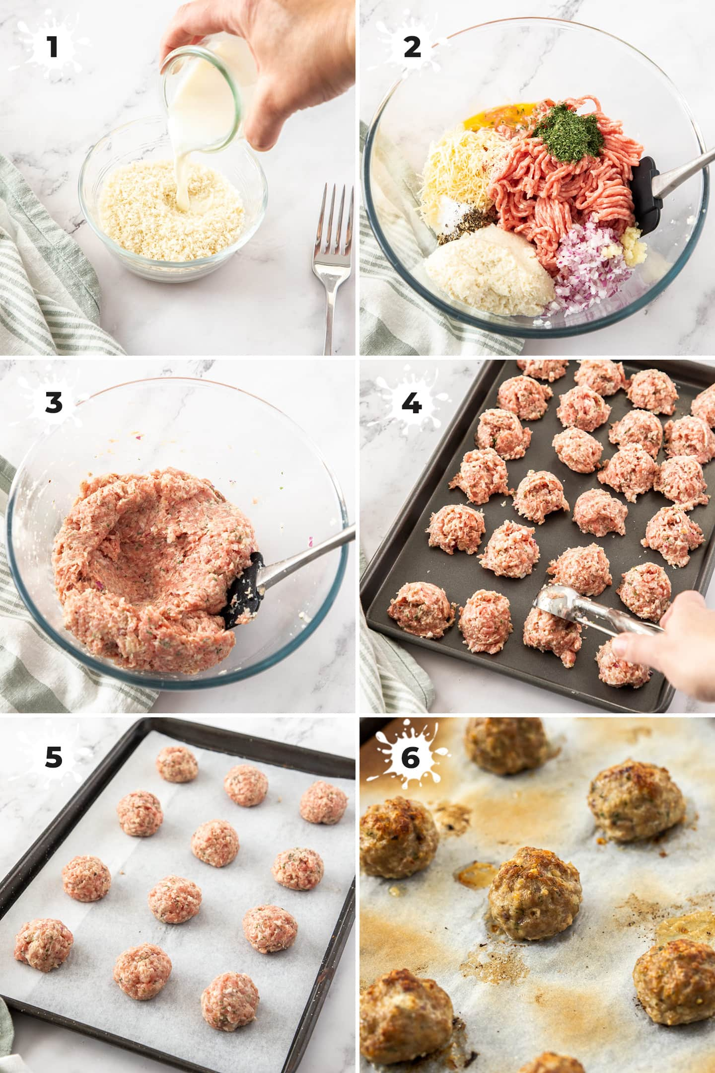 6 images showing the steps to making meatballs.