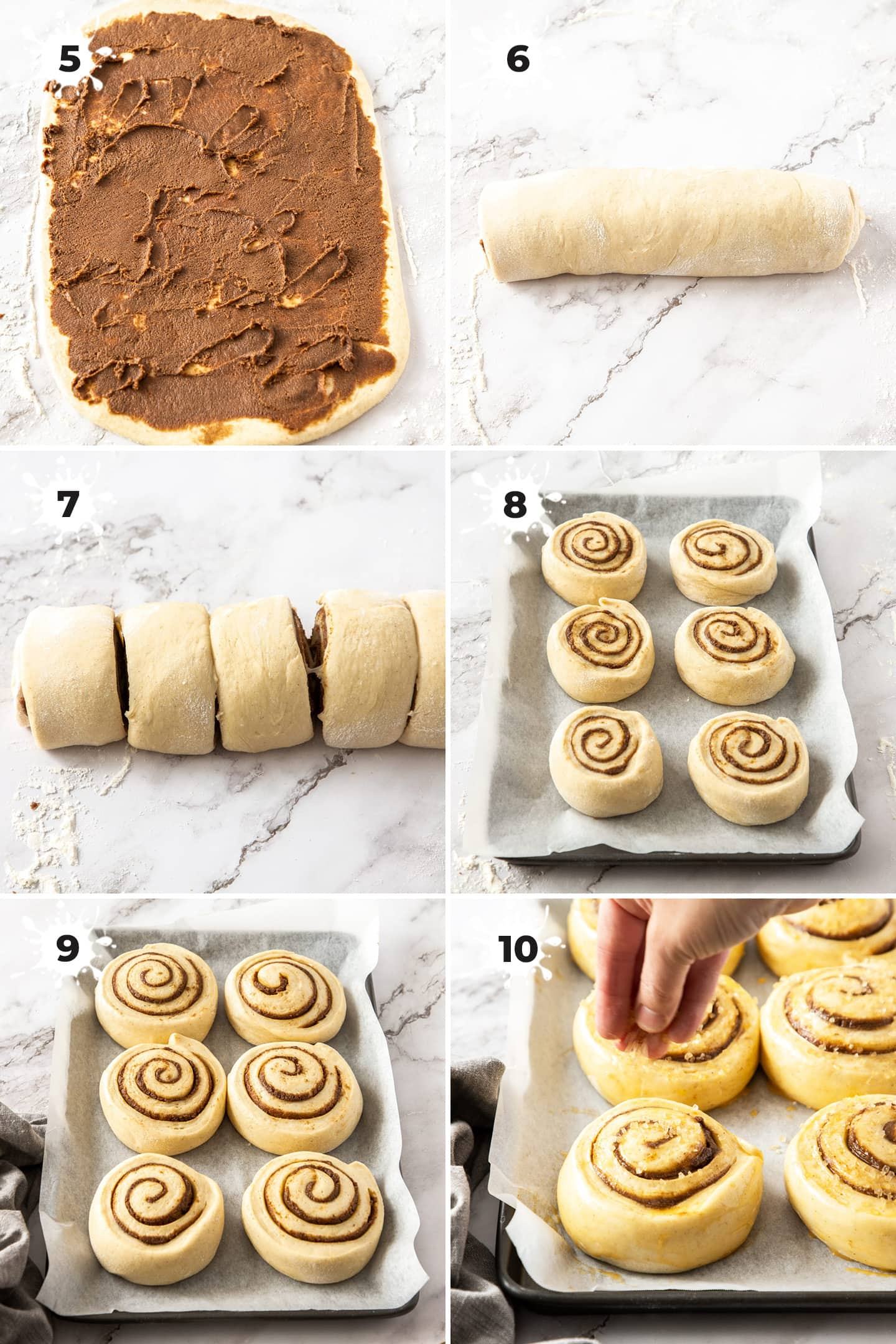Step showing how to roll dough for cinnamon buns.