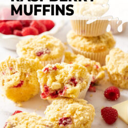 Muffins filled with raspberries and white chocolate.