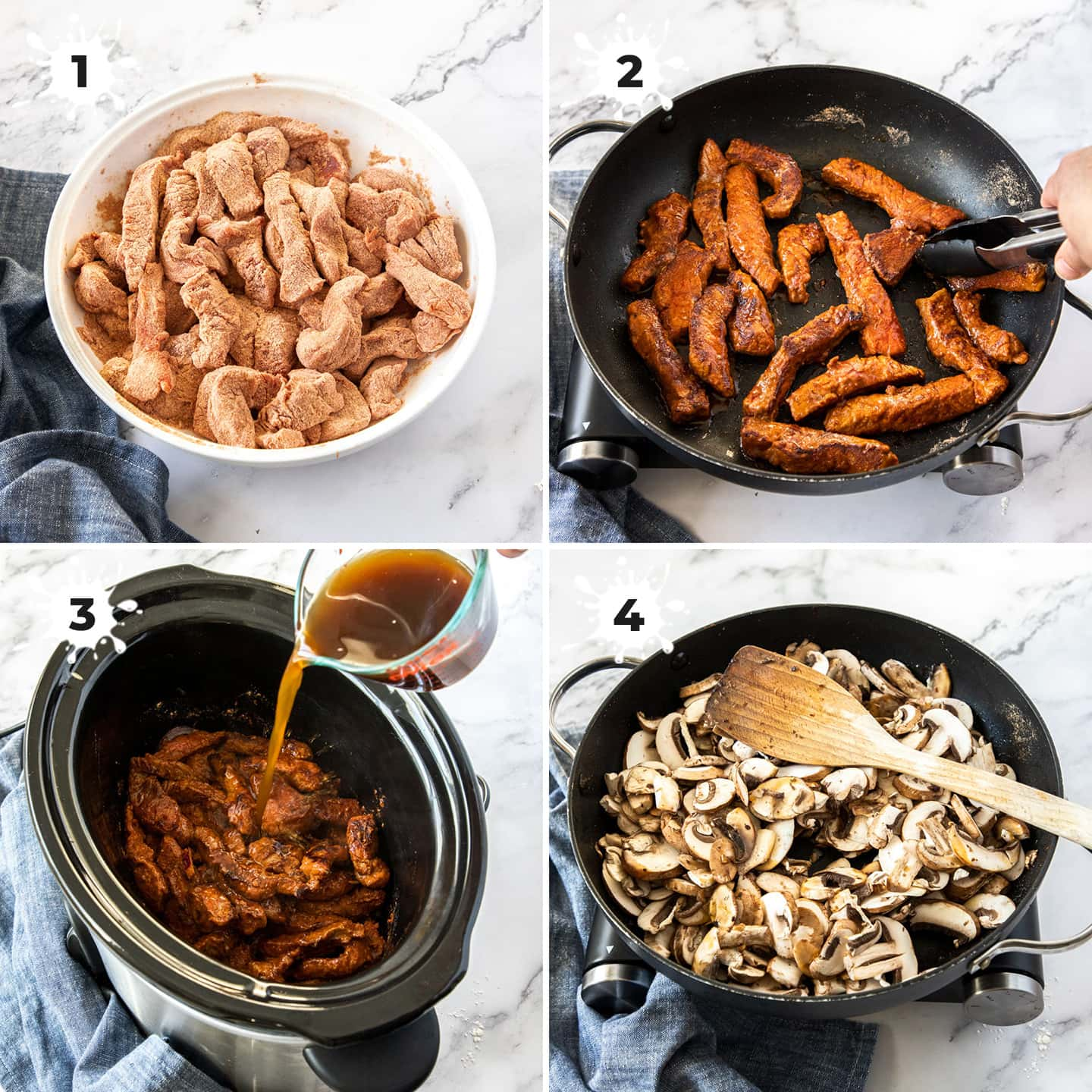 4 images showing beef being browned then added to a slow cooker.