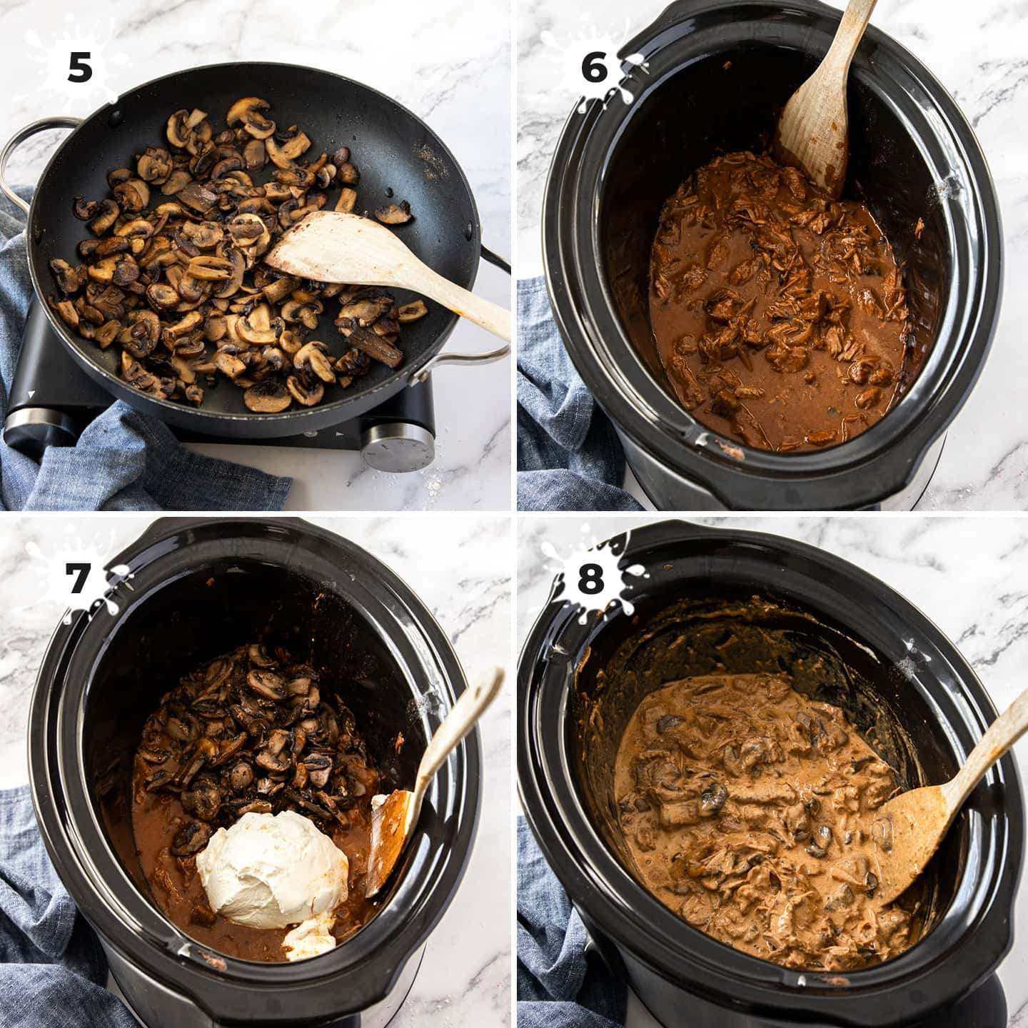 4 images of mushrooms and beef being added to a slow cooker.