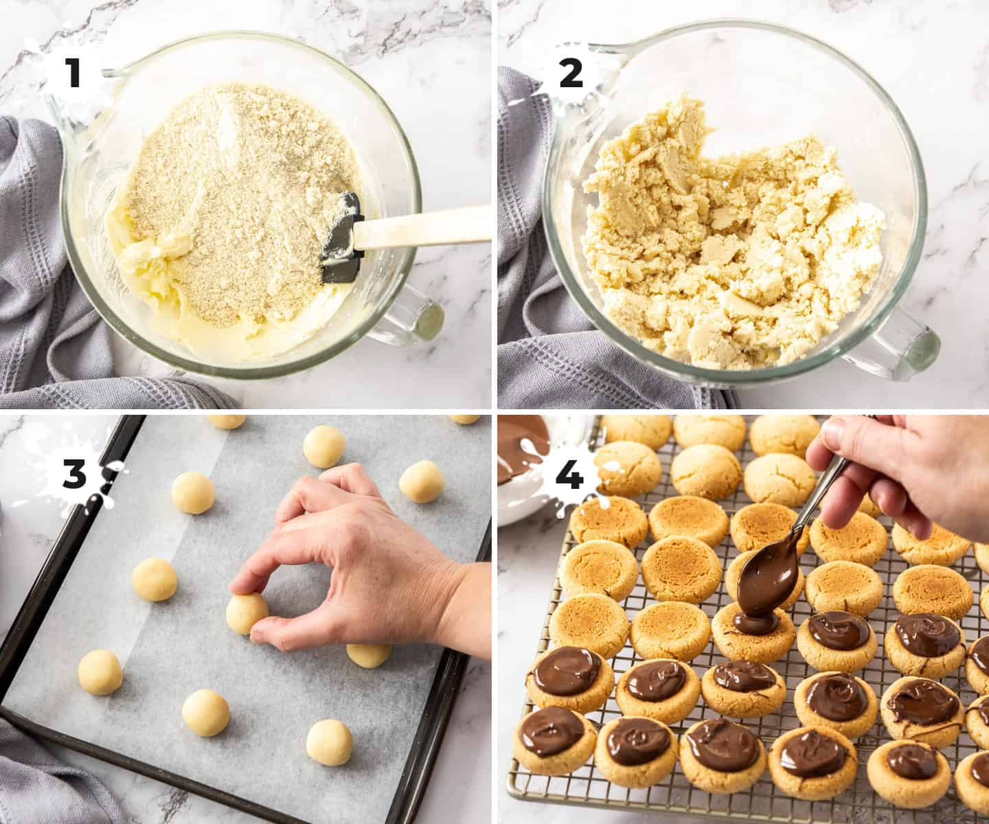 Images showing how to make the dough and how to fill baci di dama.