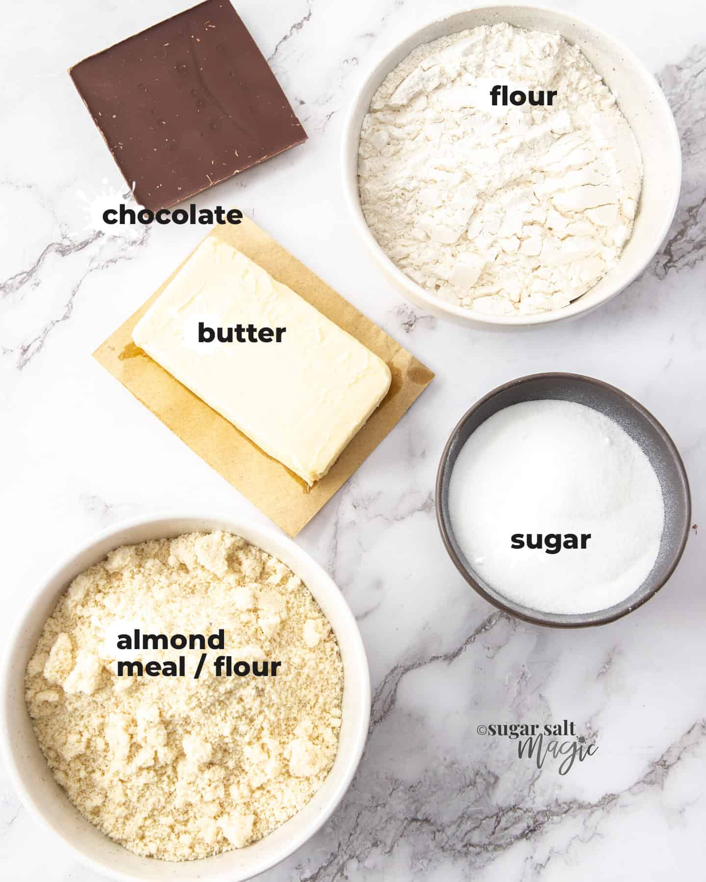 Ingredients on a marble surface.