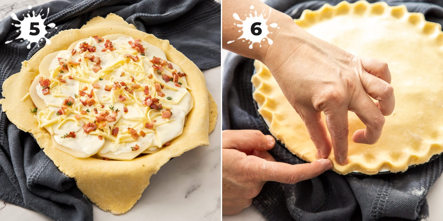 2 images showing the filling in a pie then crimping the edges.