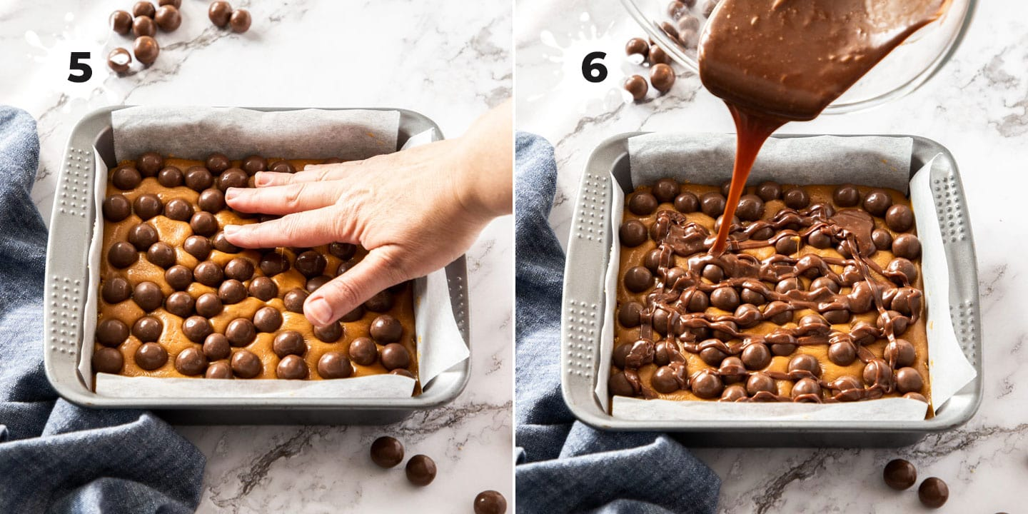 Chocolate being drizzled over maltesers and caramel.