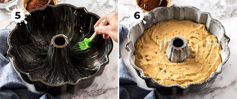 A bundt tin with cake batter inside.