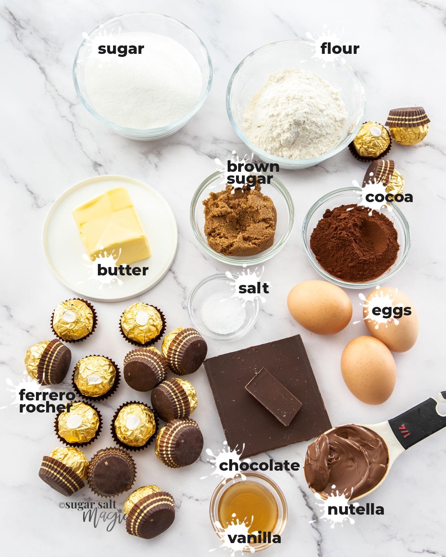 Ingredients for making brownies.